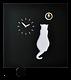 Pirondini 壁掛けハト時計 Cucù 猫 Cat | italiadesign - 本体ブラックx猫ホワイト